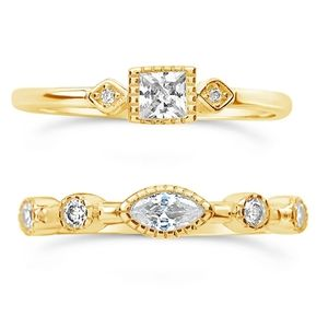 🎁NWT: Set of 14K Gold Cubic Zirconia Rings